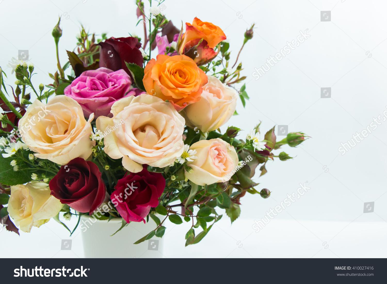 Vase of roses bouquet on white background set of beautiful flower id 410027416 izmirmasajfo