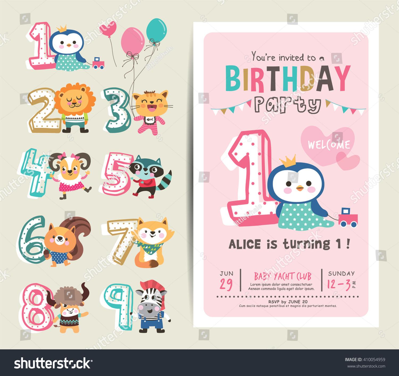 Birthday Anniversary Numbers Cute Animals Birthday Stock