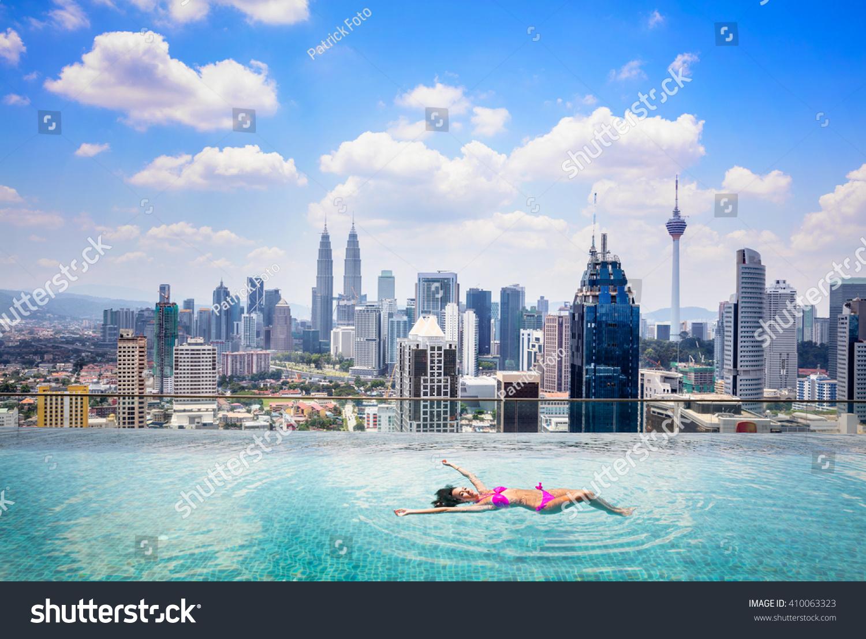 Swimming pool on roof top beautiful stock photo 410063323 - Rooftop swimming pool kuala lumpur ...