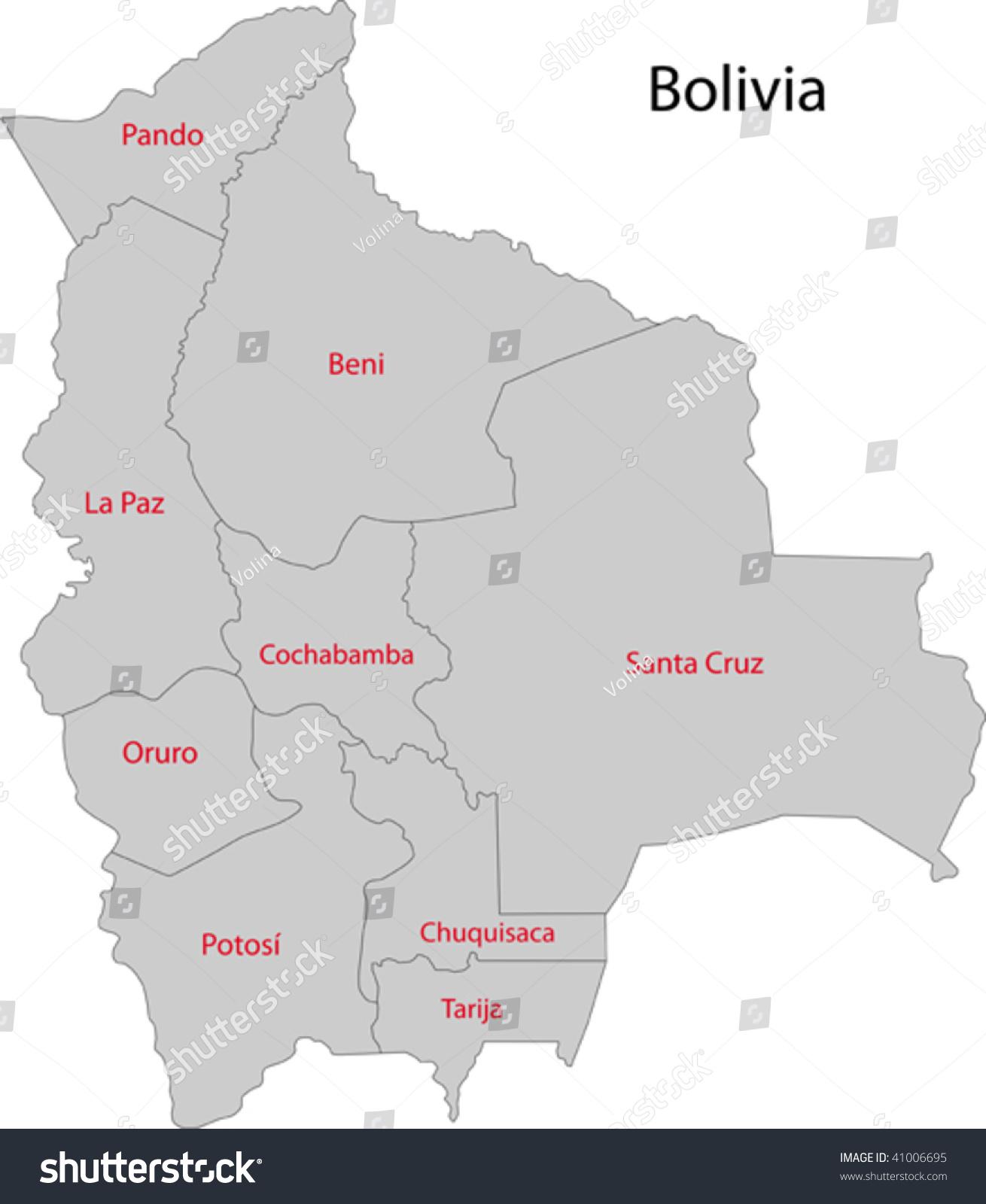 Map Administrative Divisions Bolivia Stock Vector 41006695