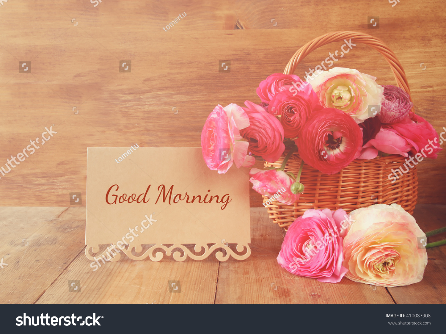 Image beautiful flowers next card text stock photo edit now image of beautiful flowers next card with text good morning vintage filtered izmirmasajfo