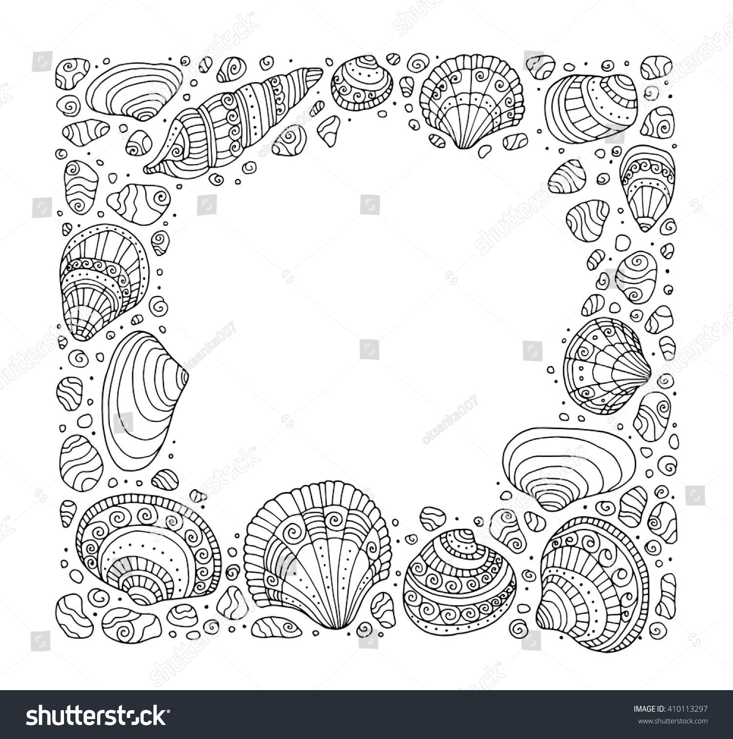 Zen ocean colouring book - Seashell Border Frame Ocean Pattern Vector Seashell Illustration Zentangle Seashell Coloring Book