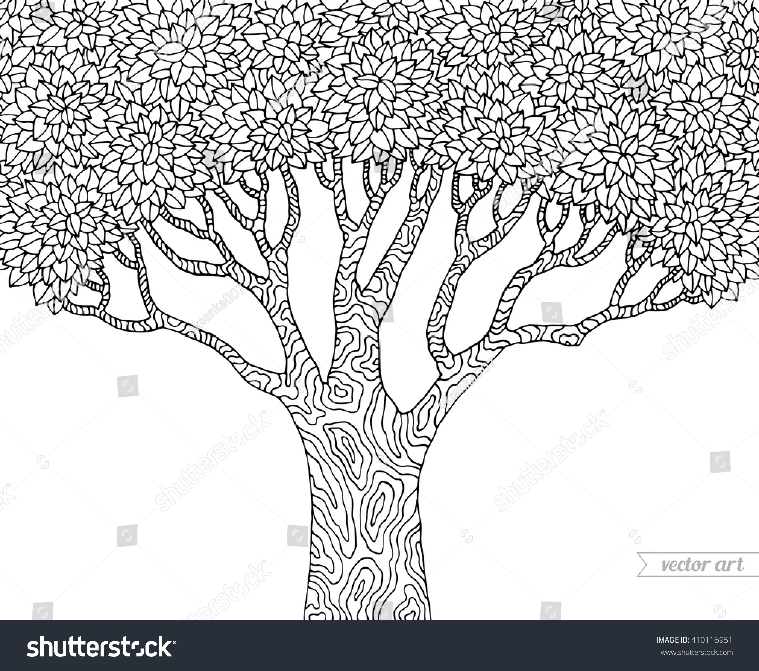 Forest Tree Isolated Big Old Vector Botany Detailed Artwork Coloring