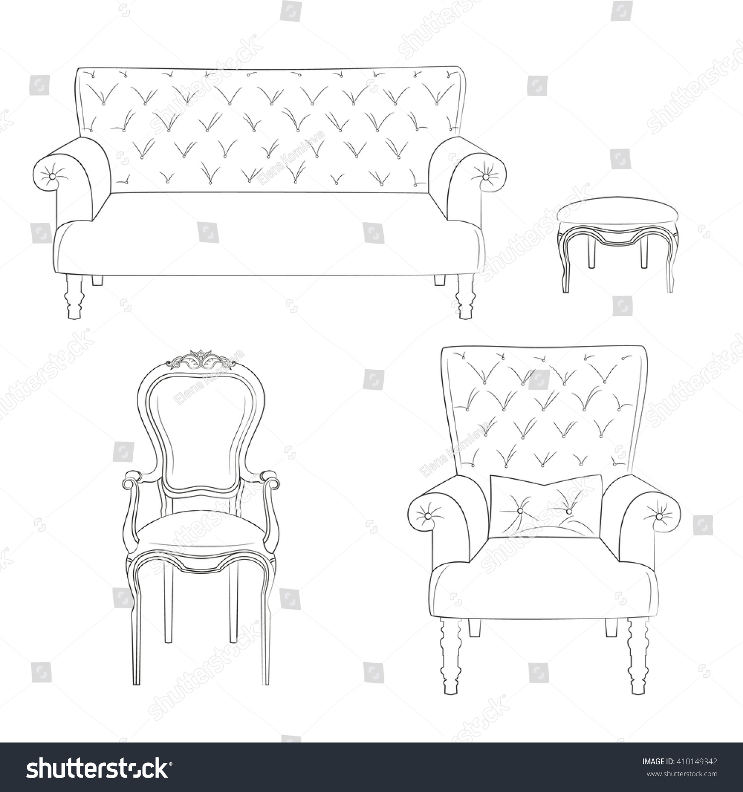 Rococo furniture sketch - Sketch Of A Set Of Upholstered Furniture Sofa Stool Chair And Armchair
