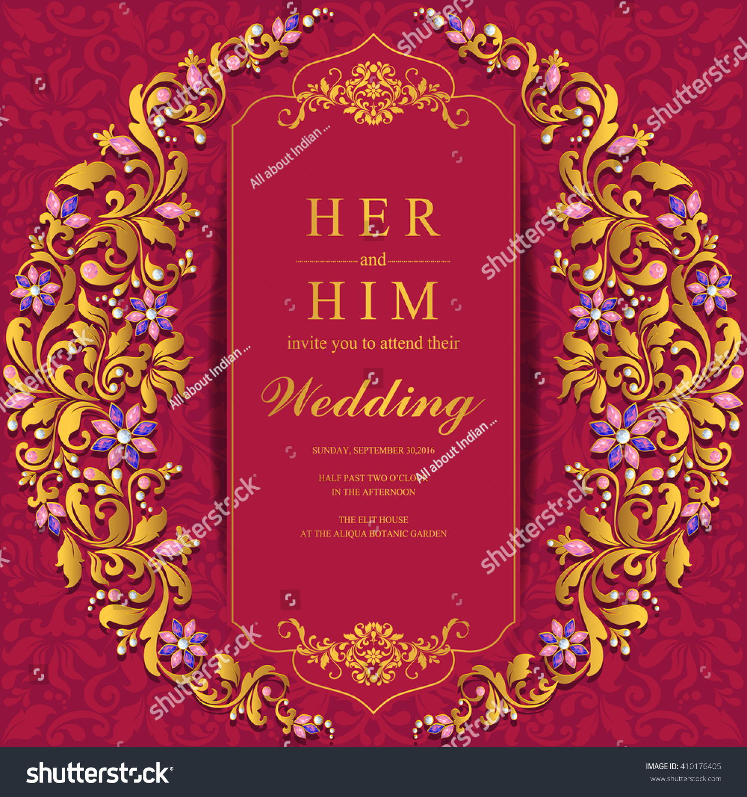 Royalty-free Wedding invitation or card with… #410176405 Stock Photo ...