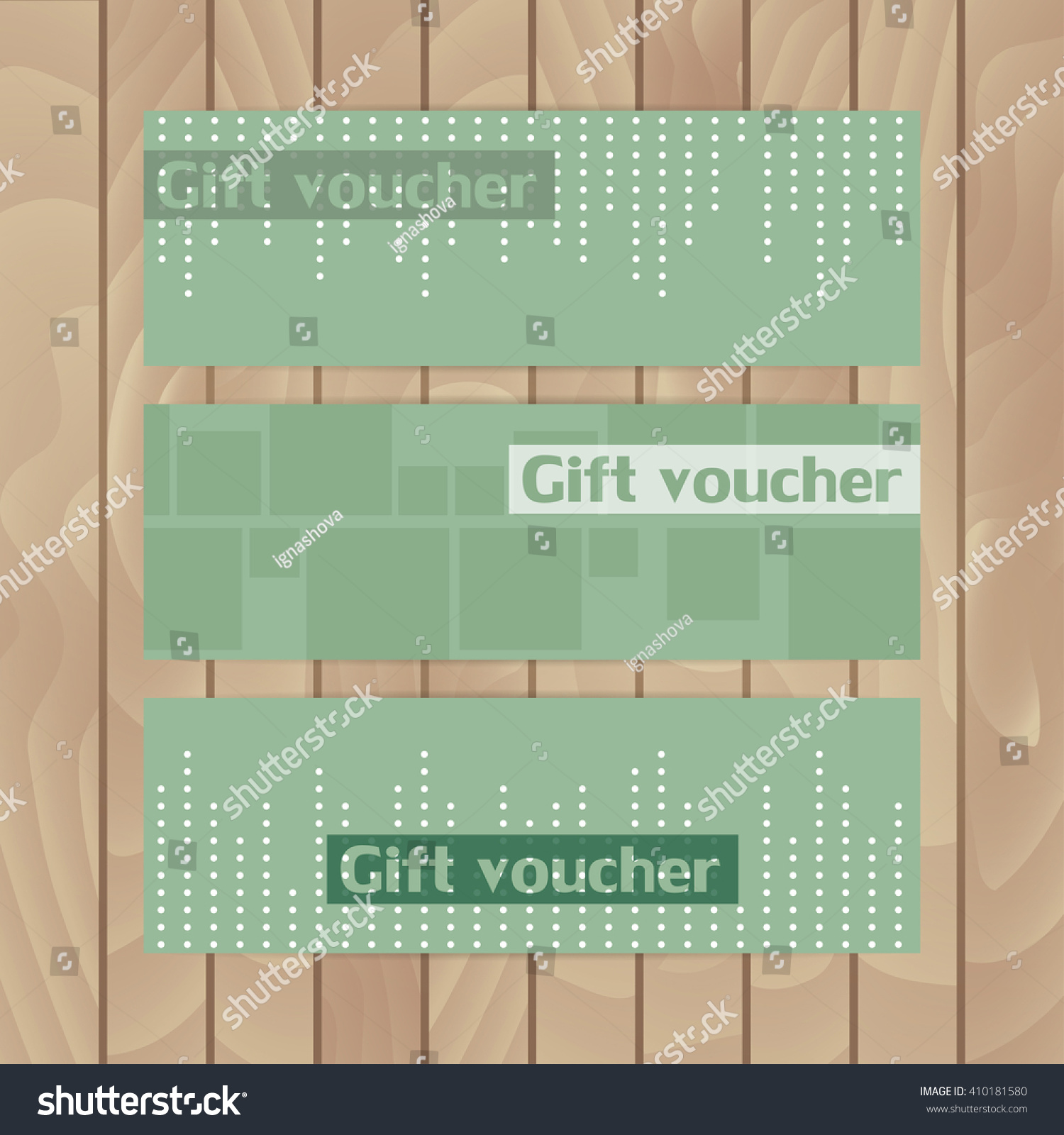 Set Vector Flyers Three Flyer Stock Royalty Free Voucher Layout Dark Green Abstraction Dots