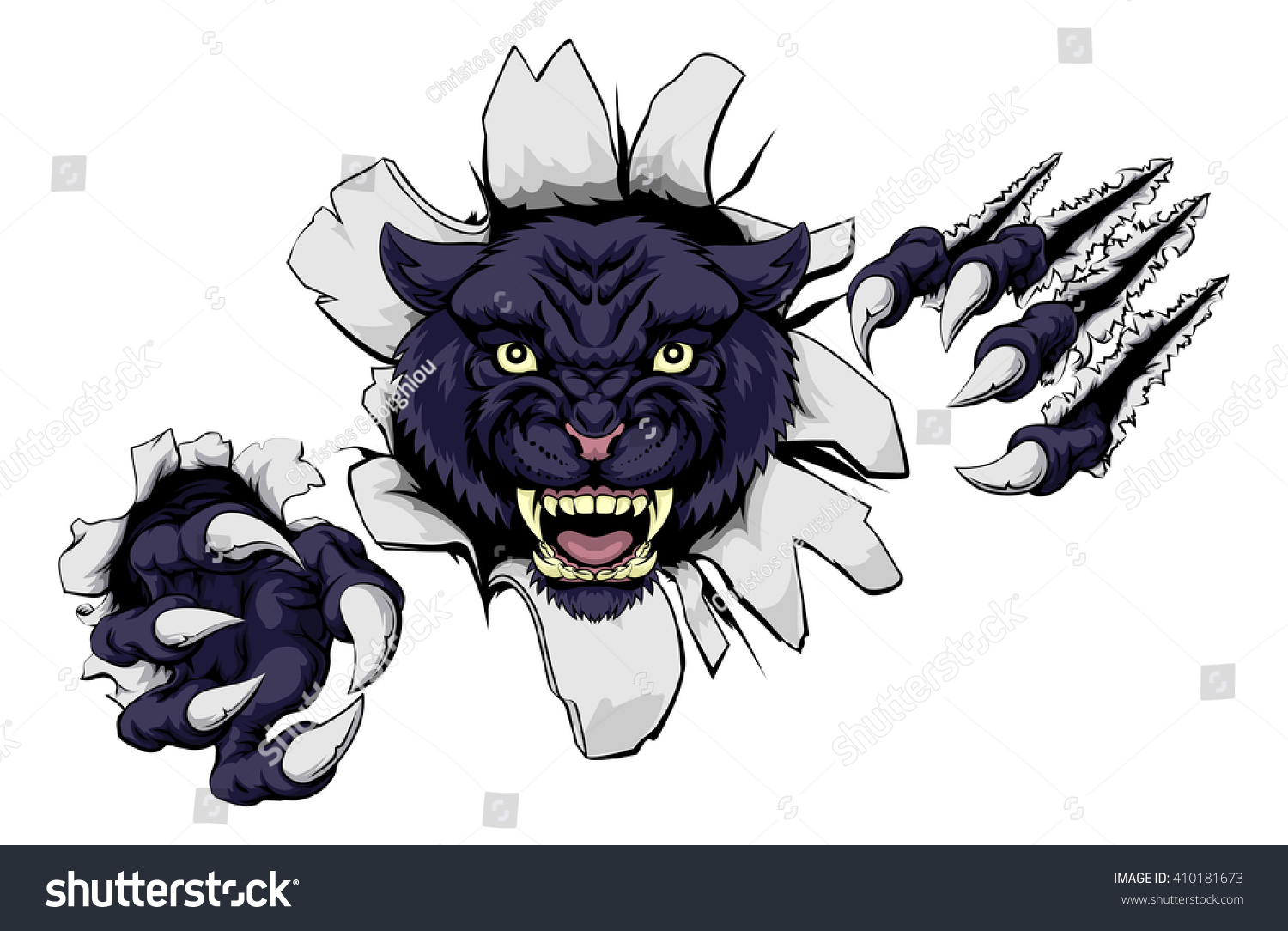 Black Panther Cartoon Sports Mascot Ripping Stock Vector ...