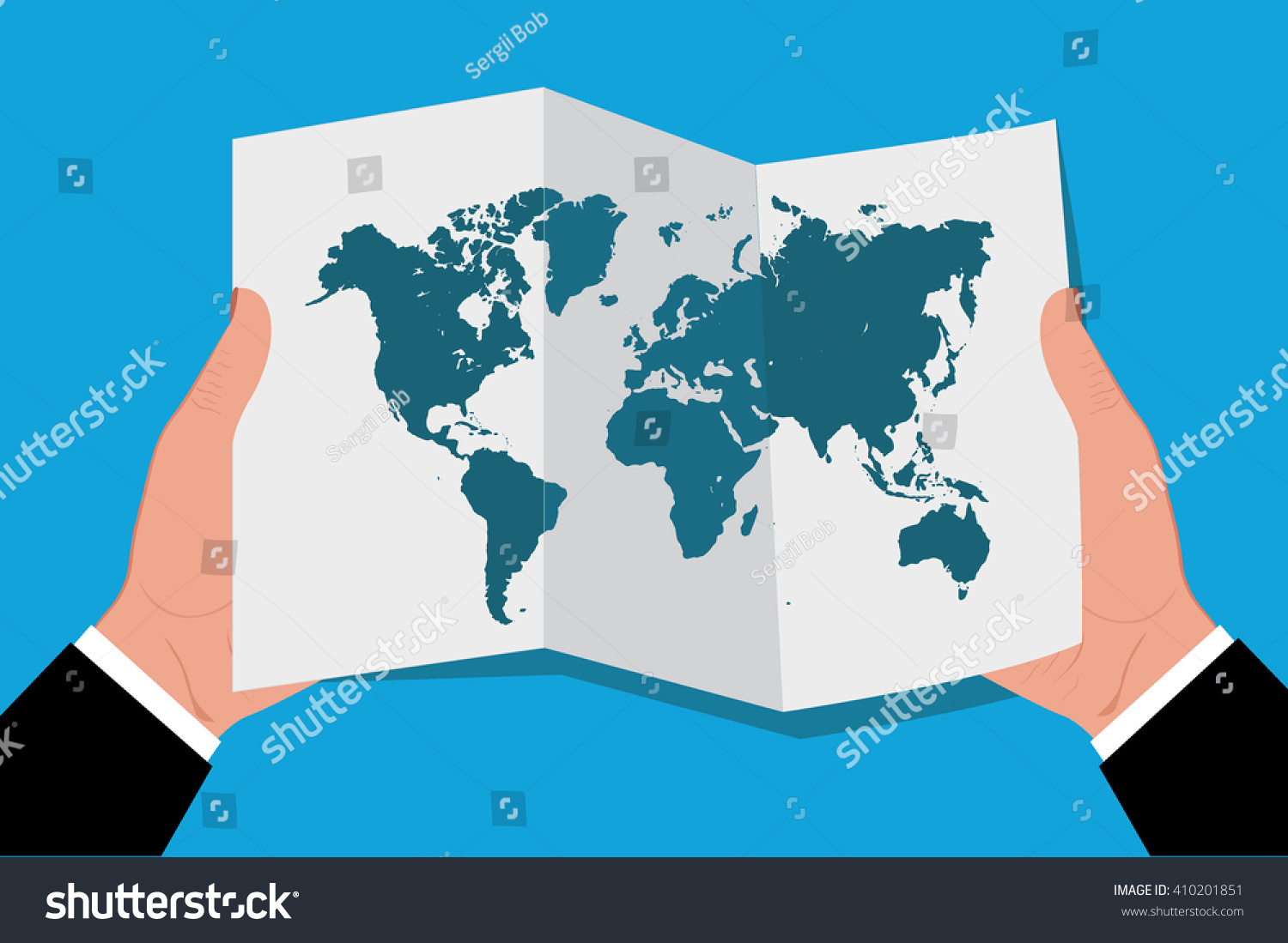 Hands holding world map flat style vectores en stock 410201851 hands holding world map in flat style vector illustration gumiabroncs Gallery