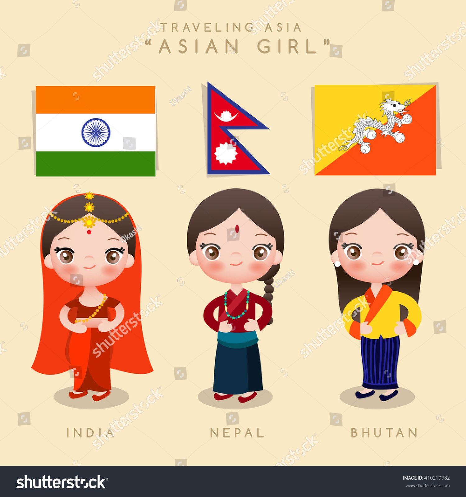 asian girl traditional costume vector illustration stock