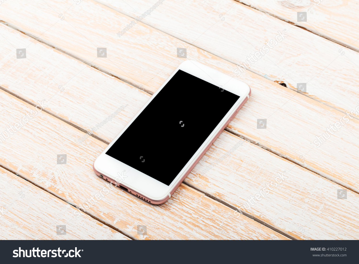 Mobile Phone On Wooden Table Background Clipping Path Inside Ez