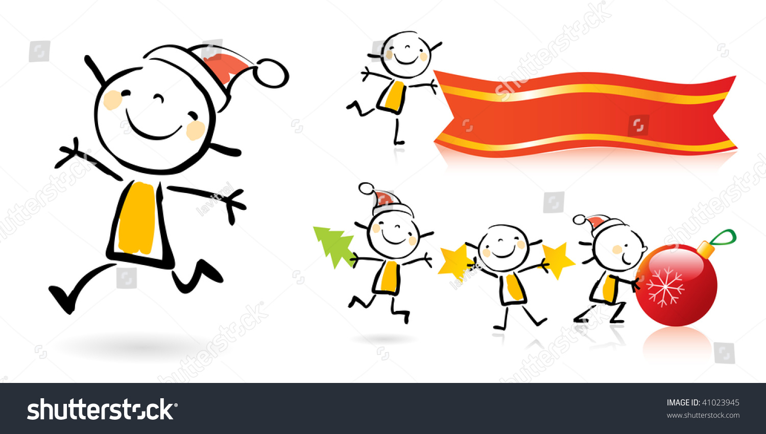 christmas children cartoons animated cute stock vector