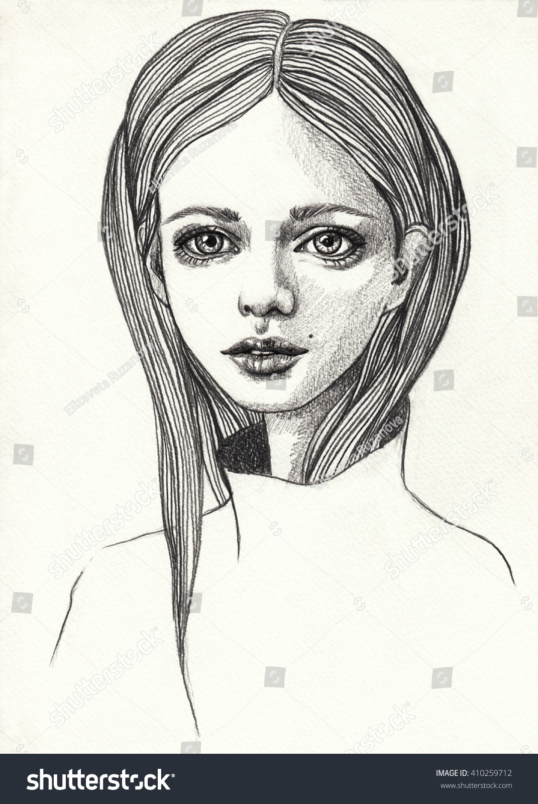 Portrait of a beautiful girl sketch pencil fashion illustration on textured background