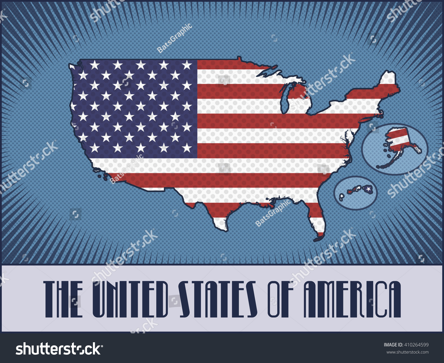 Vector Map United States America With Stock Vector - The united states hawaii alaska map