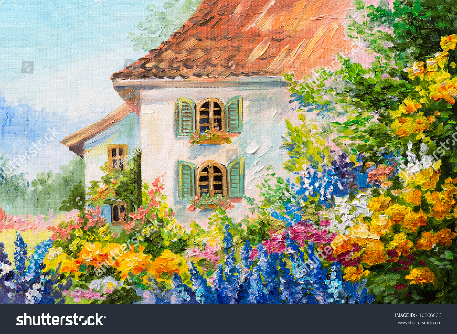 Oil painting landscape house flower garden stock for Oil paintings for the home