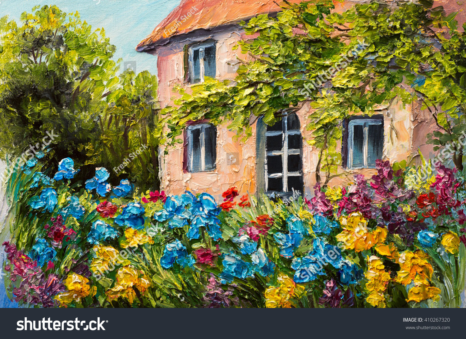 Oil painting landscape house flower garden stock for Classic house with flower garden
