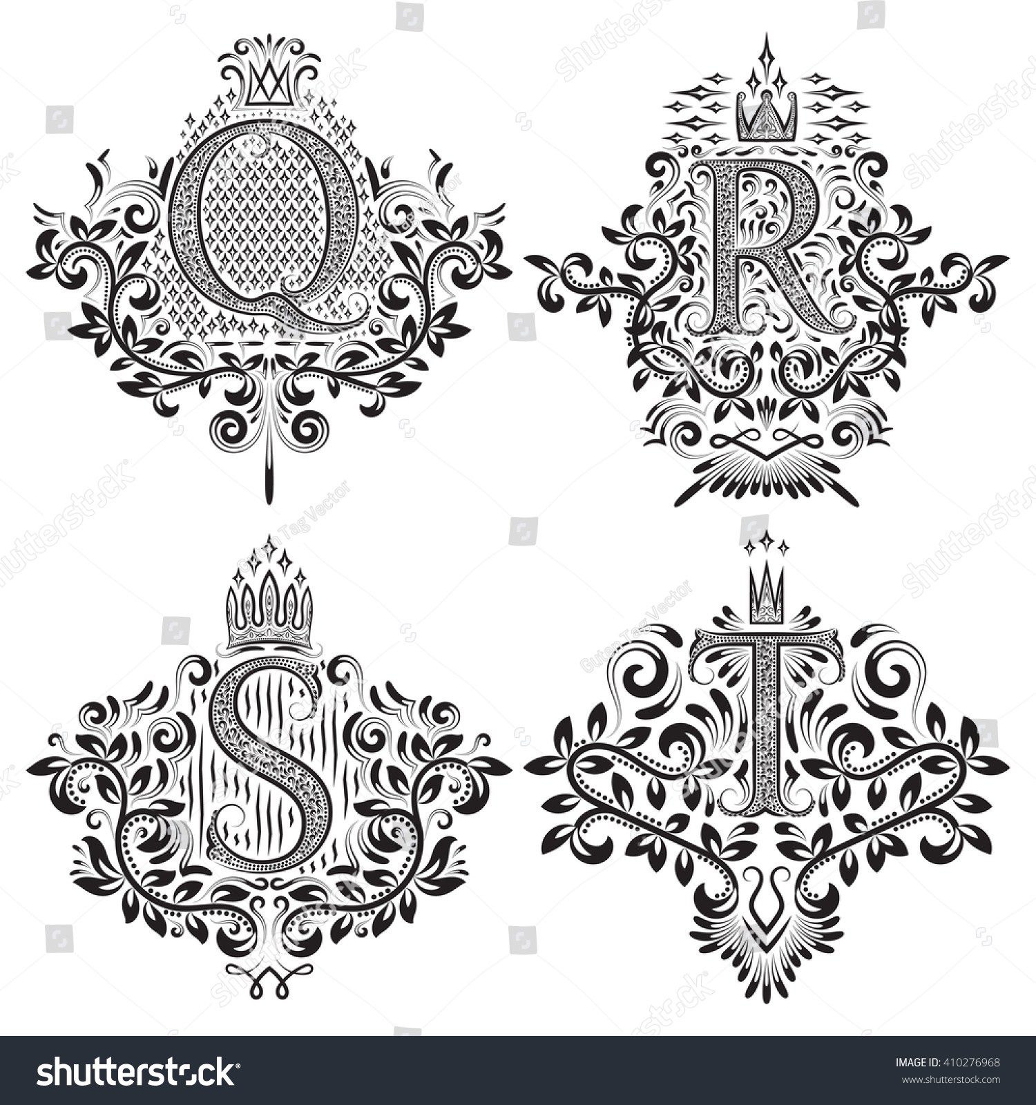 Set Bitmap Ornamental Monogram Coats Arms Stock Illustration