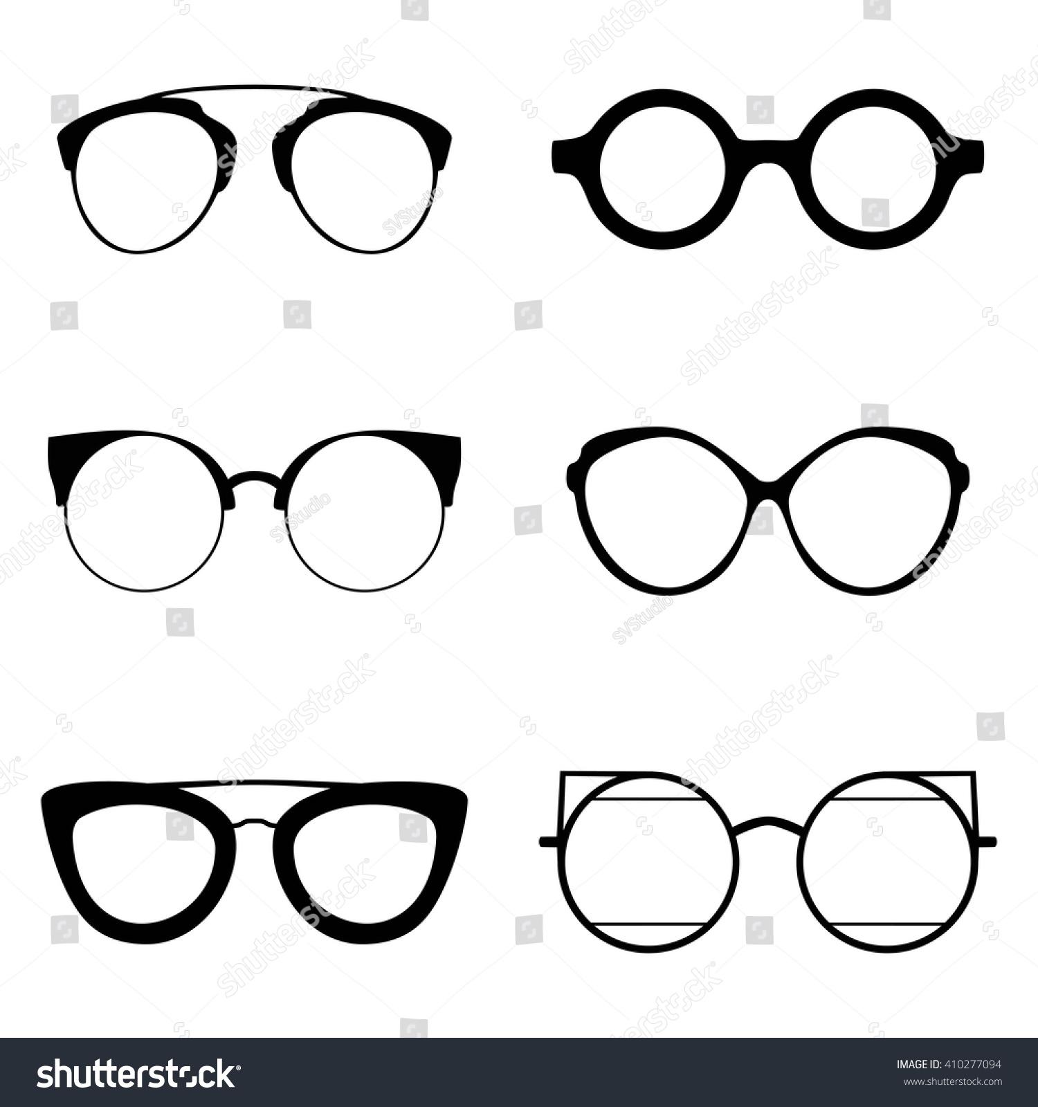 Set Various Glasses Stylish Sunglasses Women Stock Vector (Royalty ...
