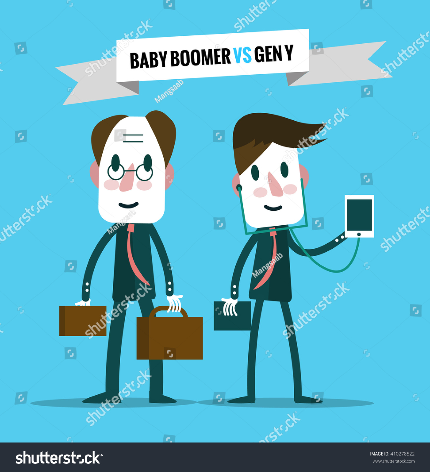 baby boomers vs generation y business stock vector  baby boomers vs generation y business human resource flat character design vector illustration