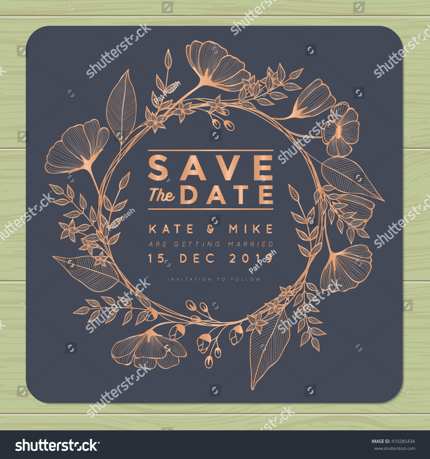Save the date, wedding invitation card with wreath flower template. Flower floral background. Vector illustration. #410285434