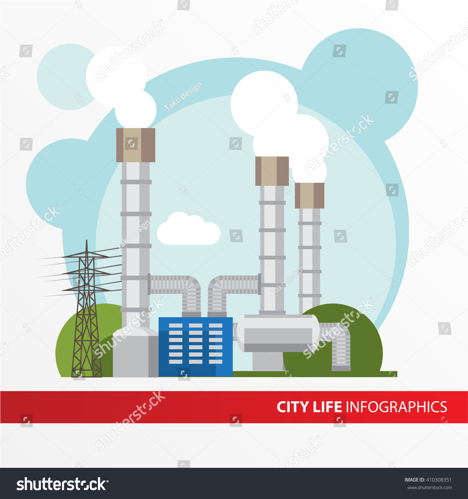 Geothermal Power Station Colorful Illustration Flat Stock Vector