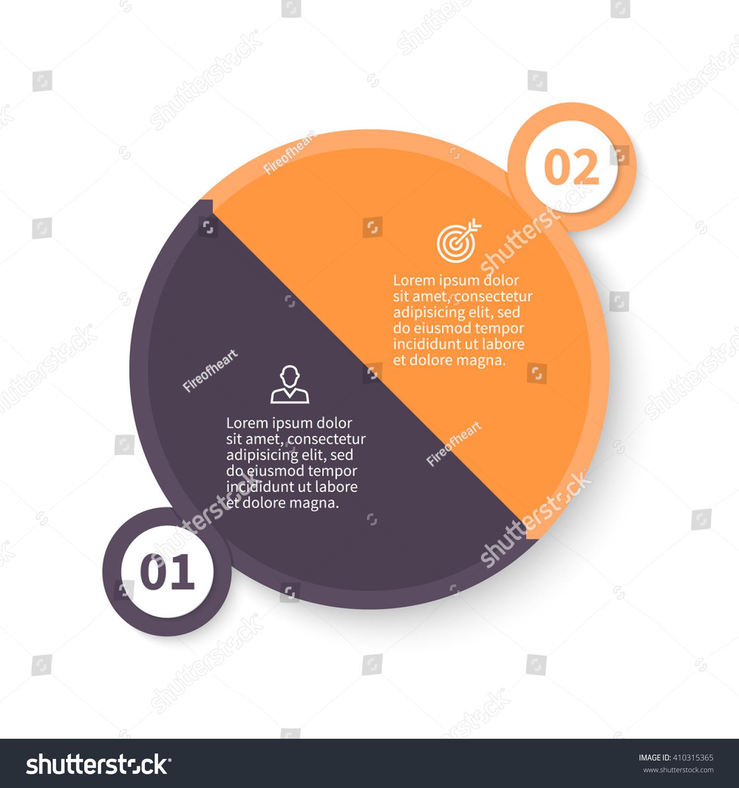 Circular infographic pie chart diagram graph stock vector pie chart diagram graph with 2 steps options parts nvjuhfo Choice Image
