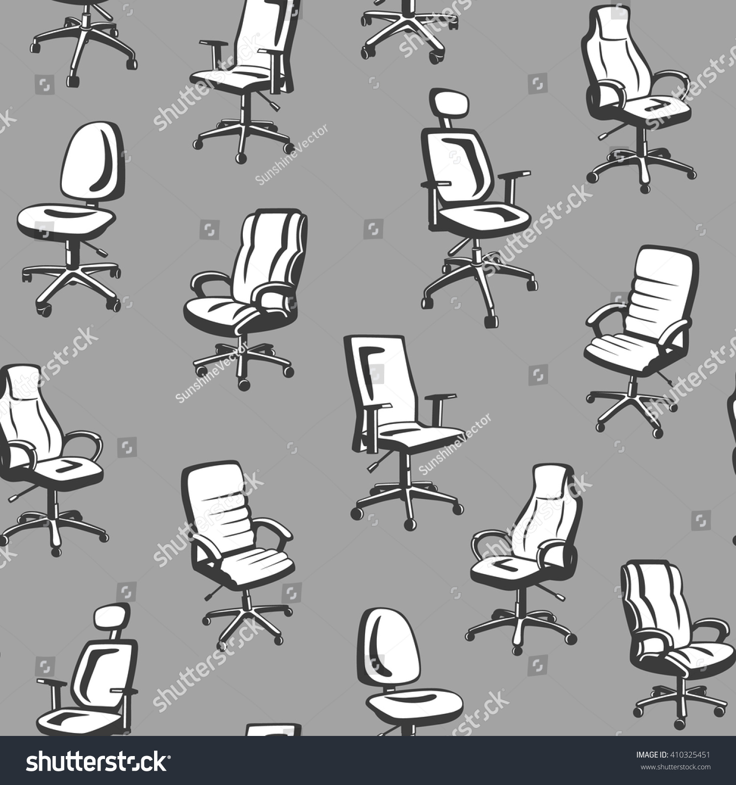 Monochrome fice Chairs Seamless Pattern Seamless Stock Vector