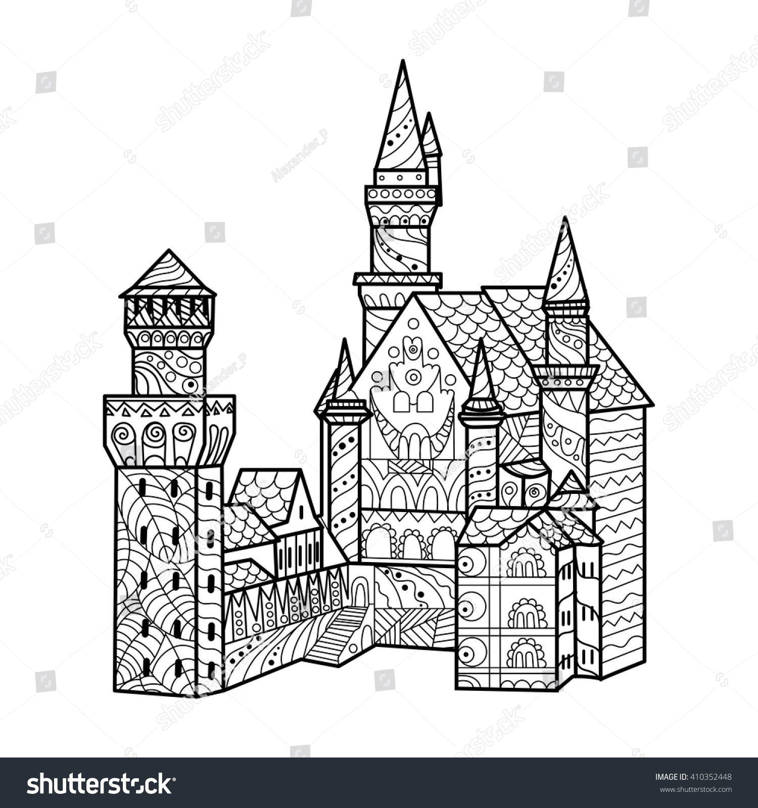 Coloring book landmark for adults - Medieval Castle Coloring Book For Adults Vector Illustration