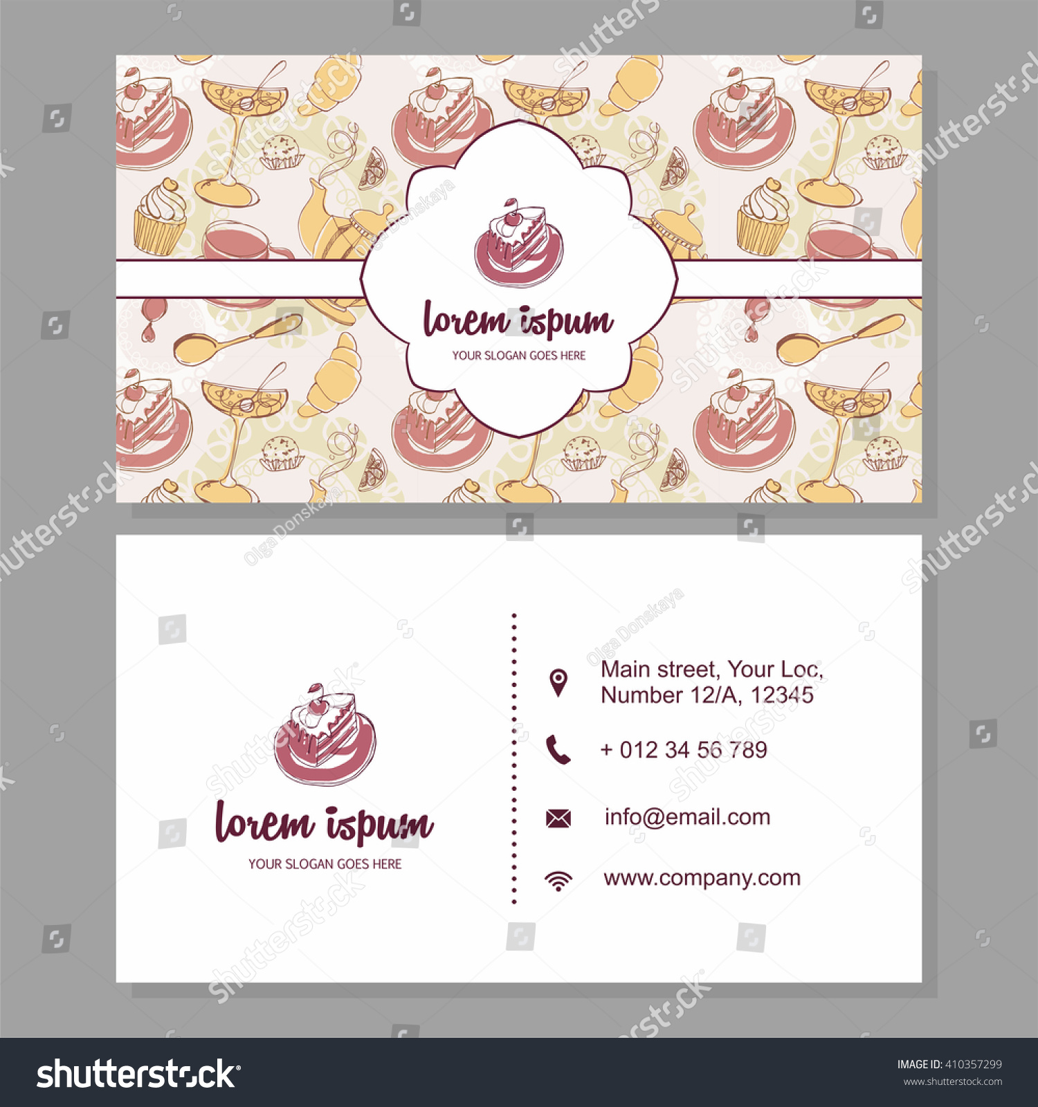 Visiting Card Business Card Cute Hand Stock Vector 410357299 ...