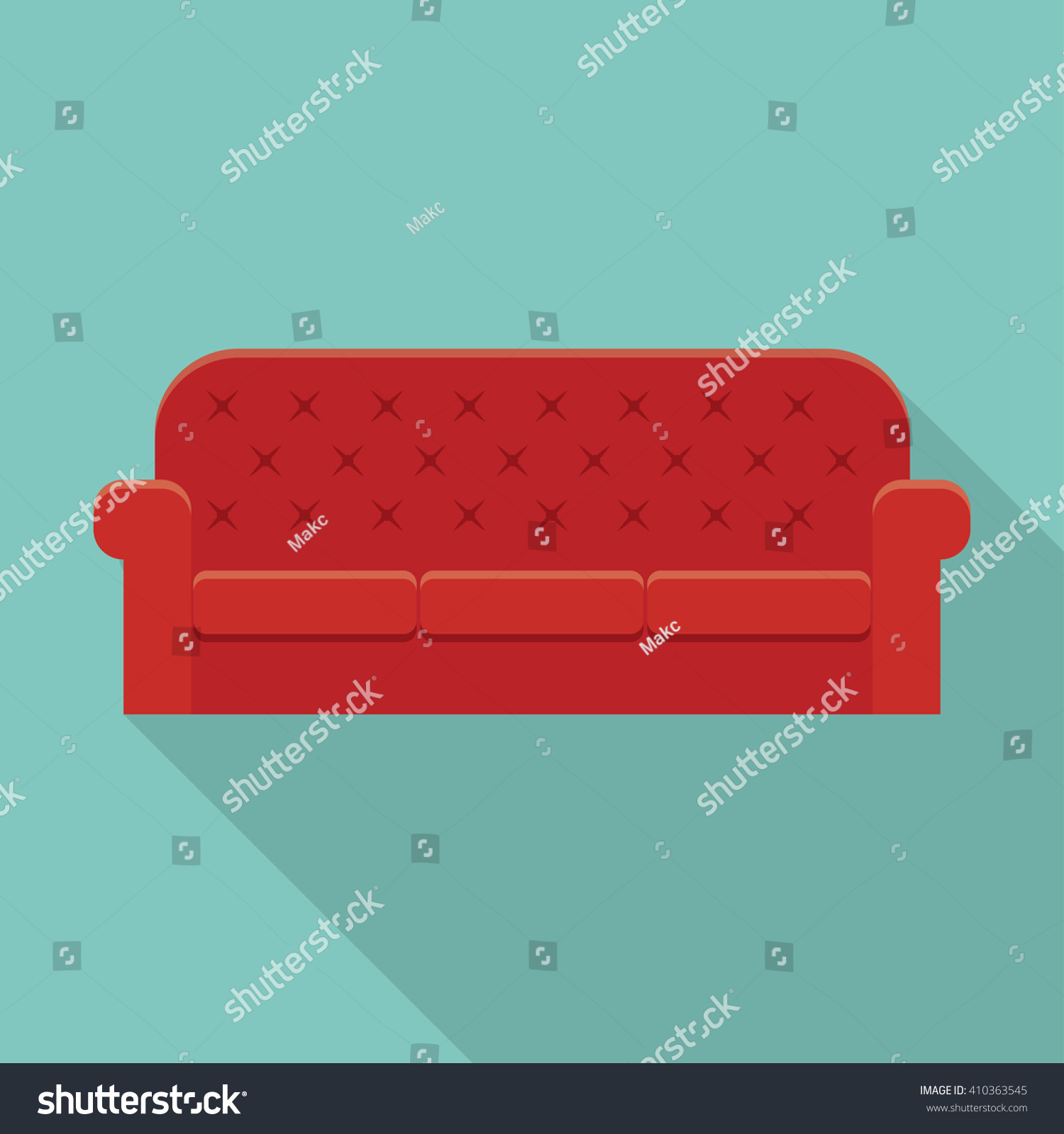 Red Leather Luxury Sofa Modern Living Stock Vector