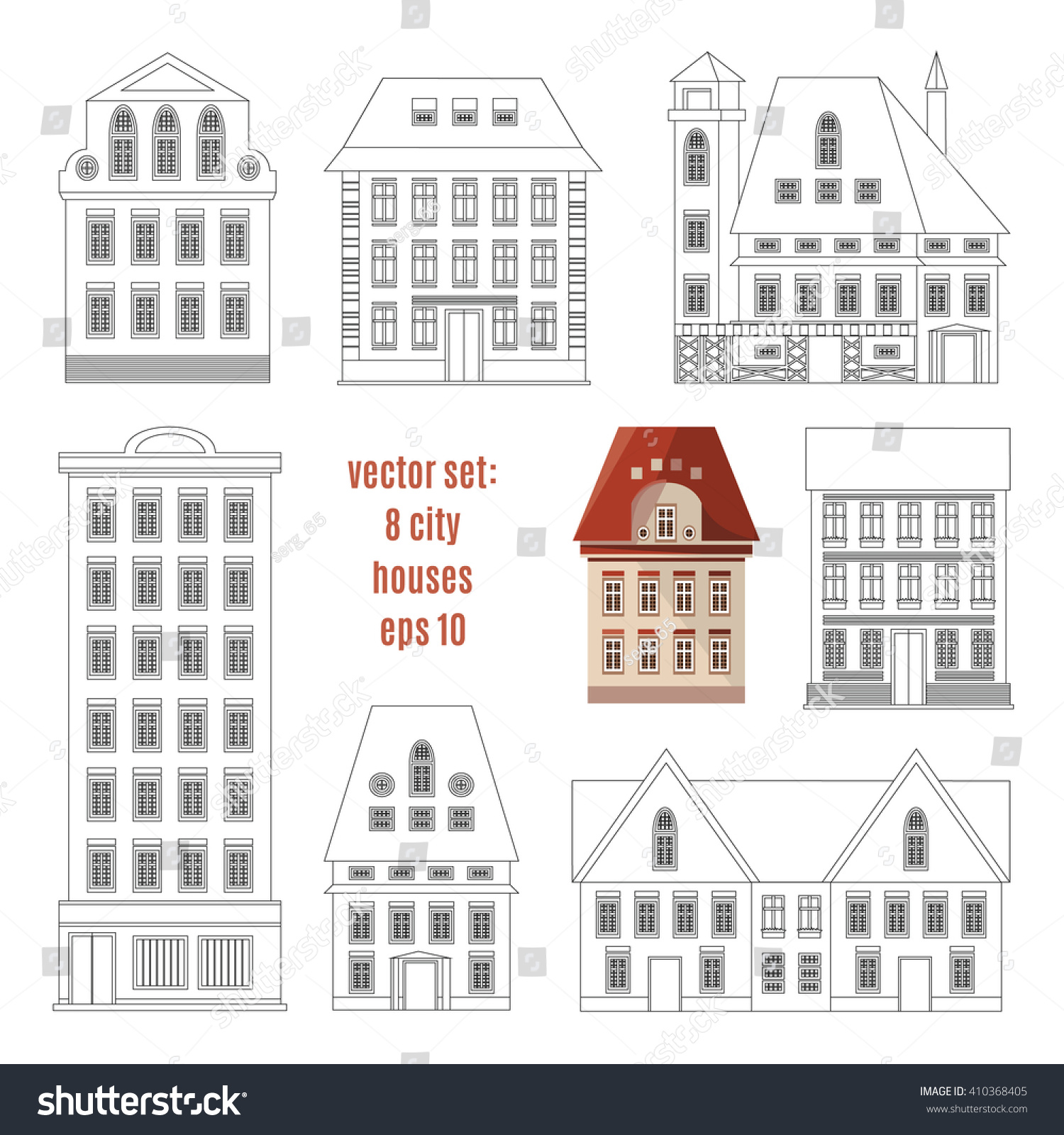 Modern Detailed Flat Vector Buildings Collection Stock Vector