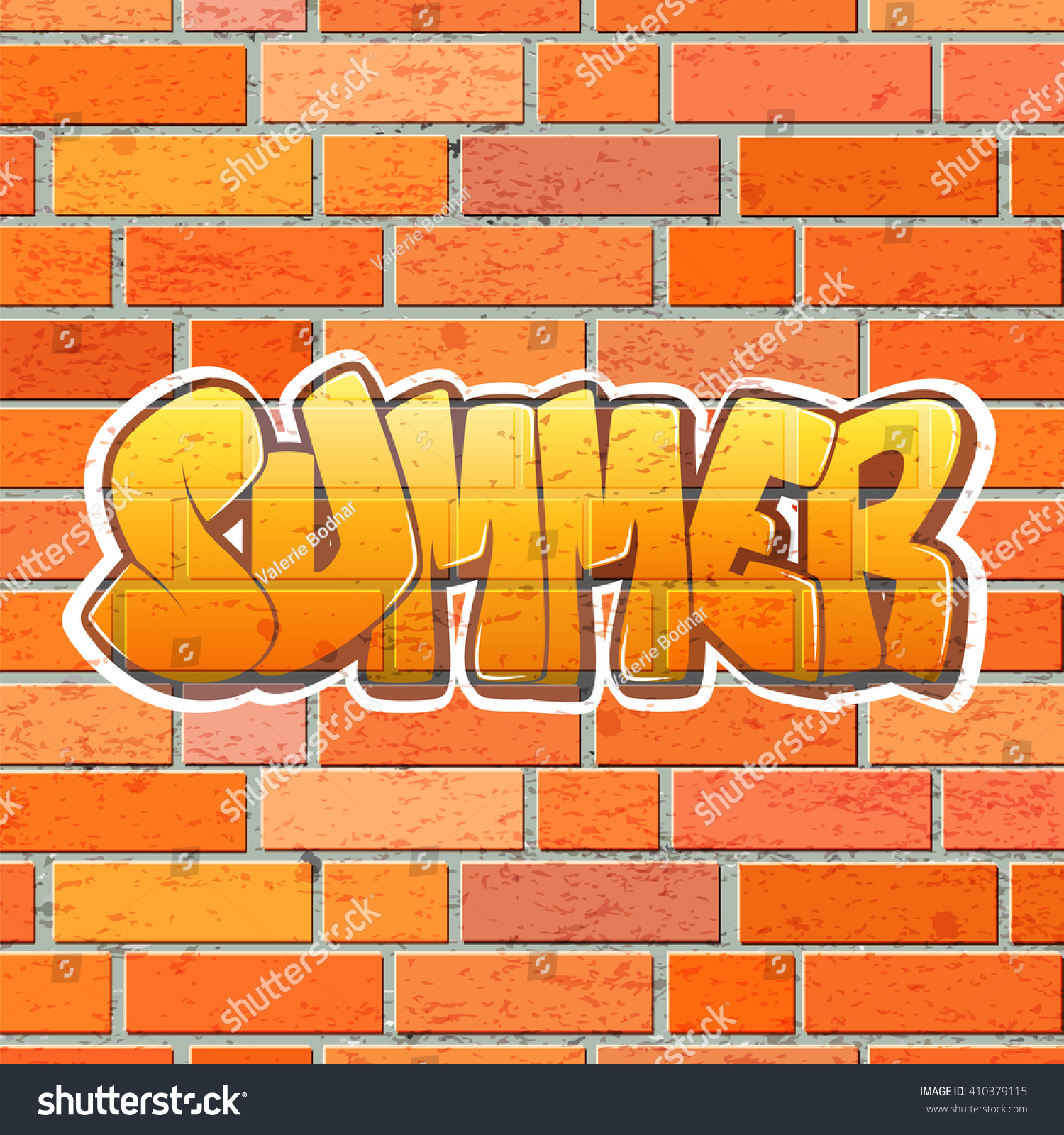 Graffiti wall vector free - Lettering Summer On The Brick Wall Vector Graffiti Wall Vector Illustration Of Red Brick