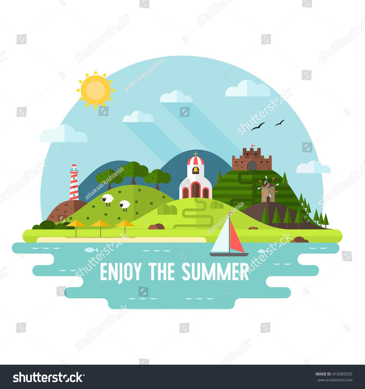 Summer Travel Adventure Flat Landscape Sea Stock Vector ...
