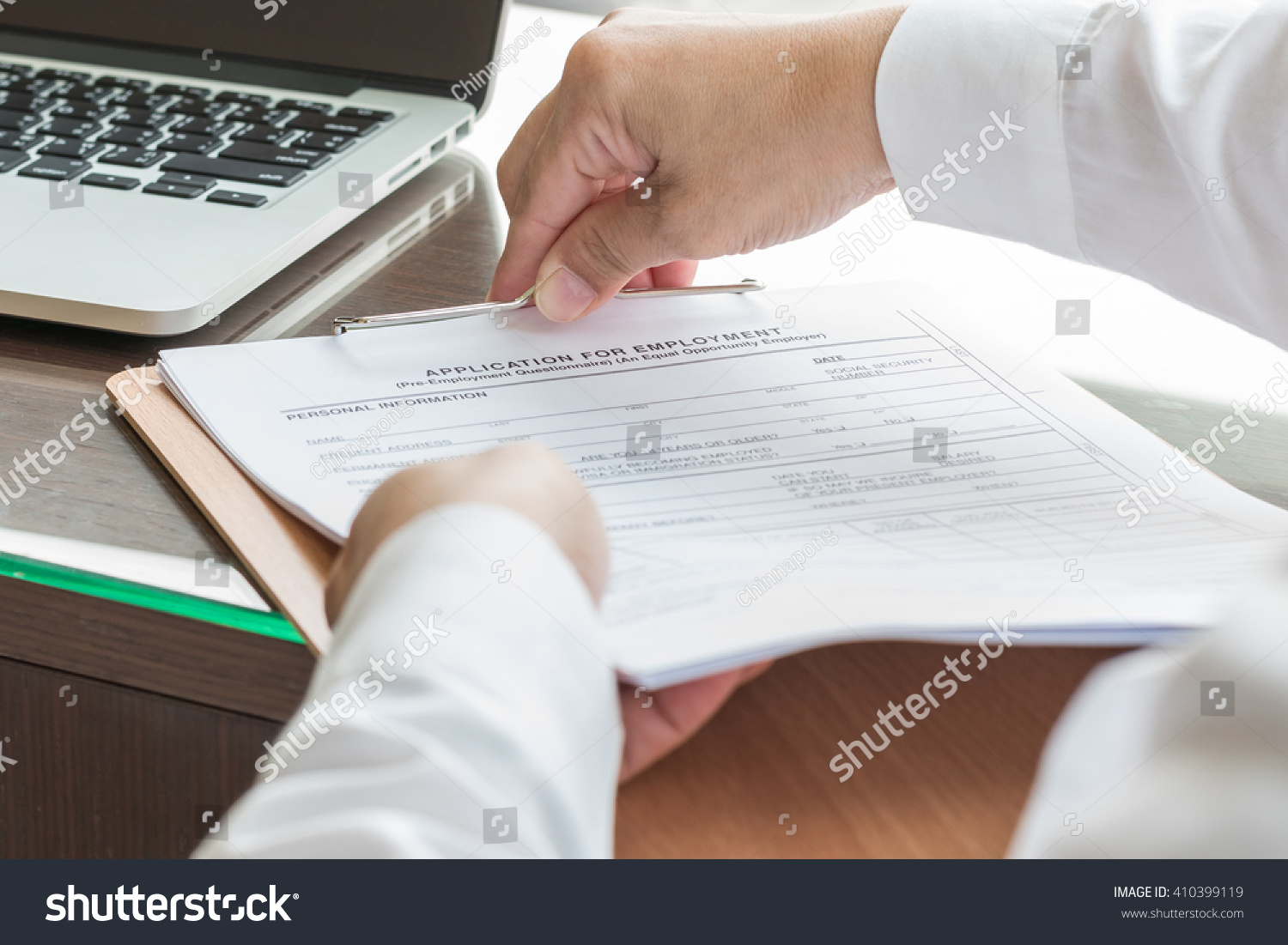 Applicant Filing Company Application Form Document Stock Photo ...