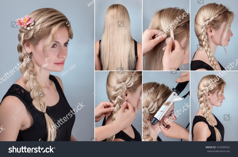 Brilliant Simple Braid Hairstyle Tutorial Romantic Evening Stock Photo Short Hairstyles For Black Women Fulllsitofus