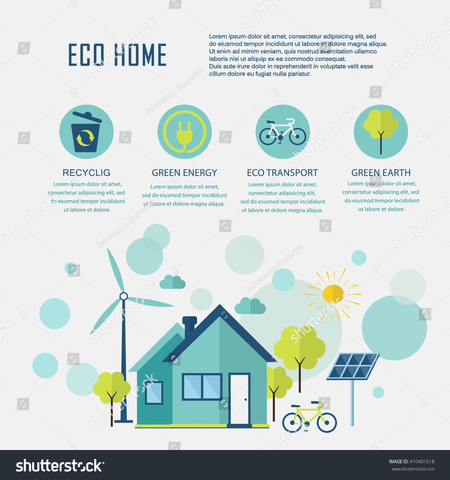Eco Home Flat Design Ecology Concept Stock Vector 410401618 ...