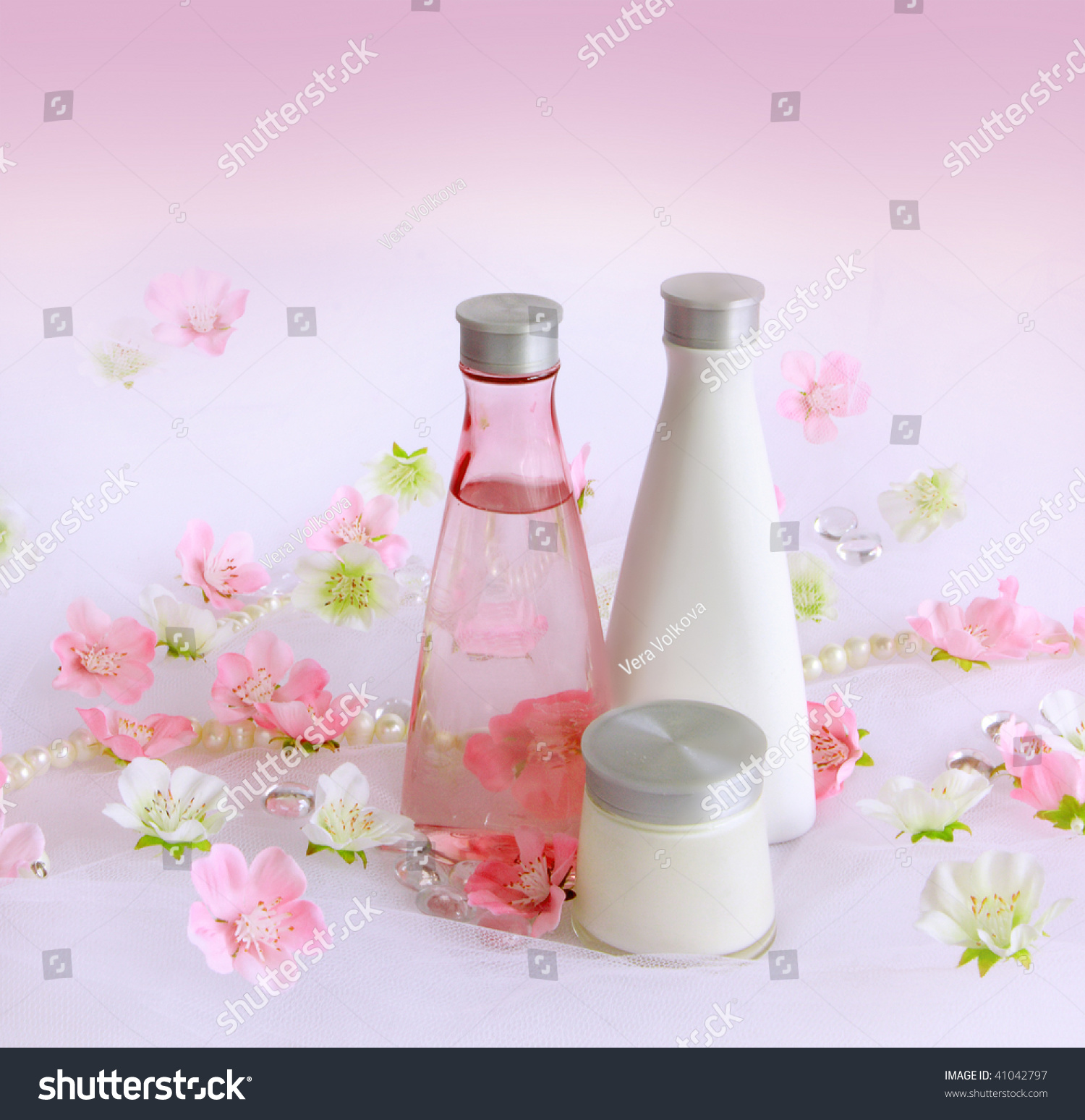 Pink Flowers Perfume Background Stock Photo Edit Now 41042797