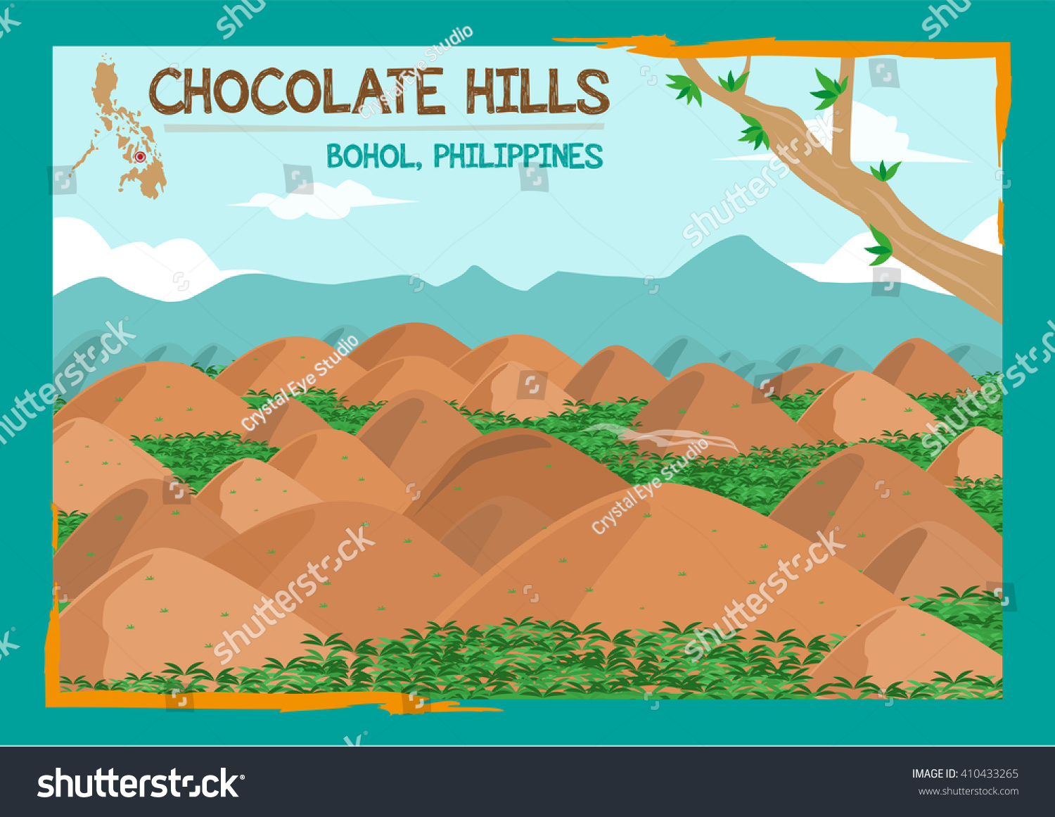 Chocolate Hills Formation Located Bohol Philippines Stock Vector ...