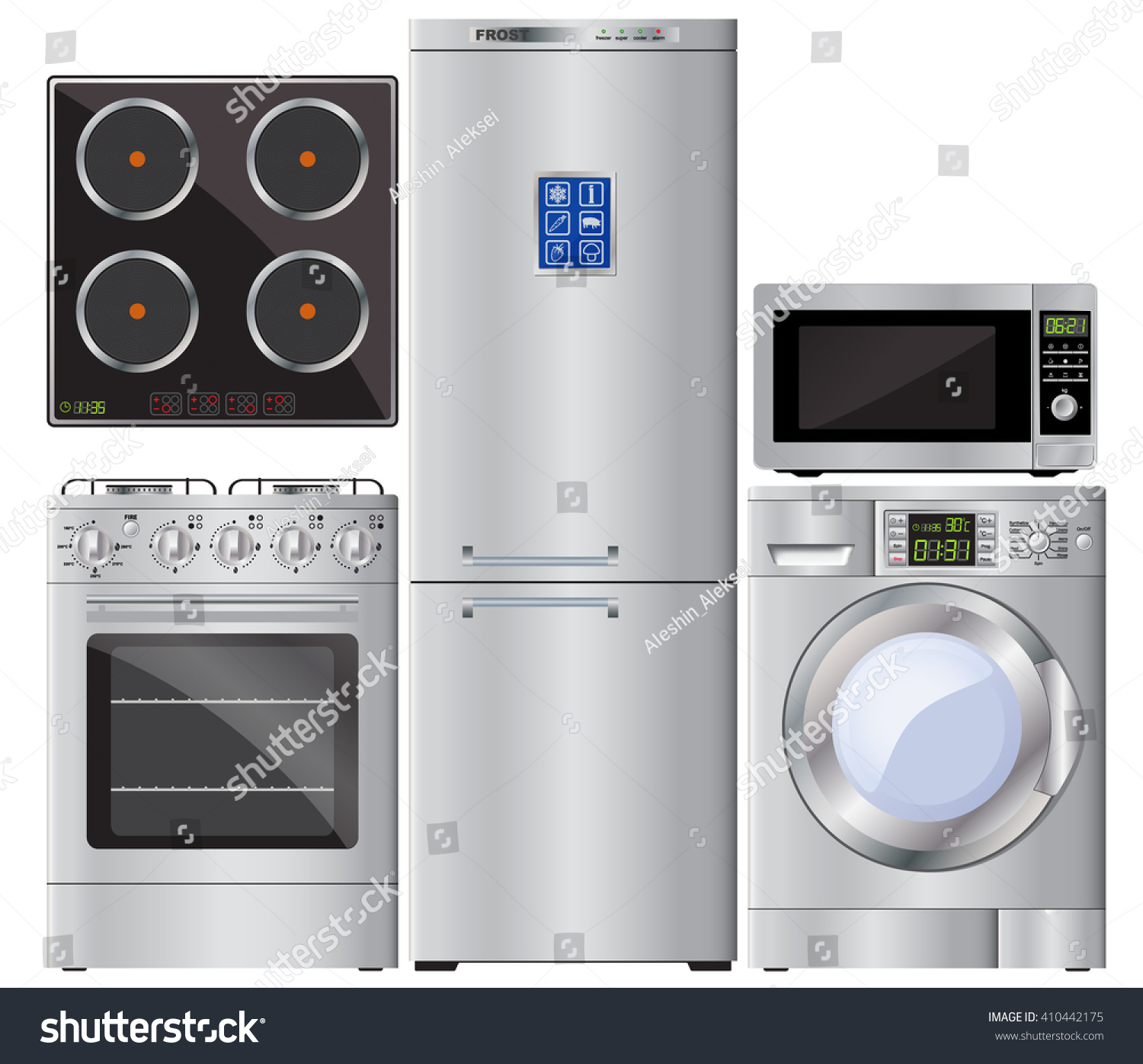 Appliances. Set. Gas Cooker, Hob, Refrigerator, Washing Machine, Microwave.