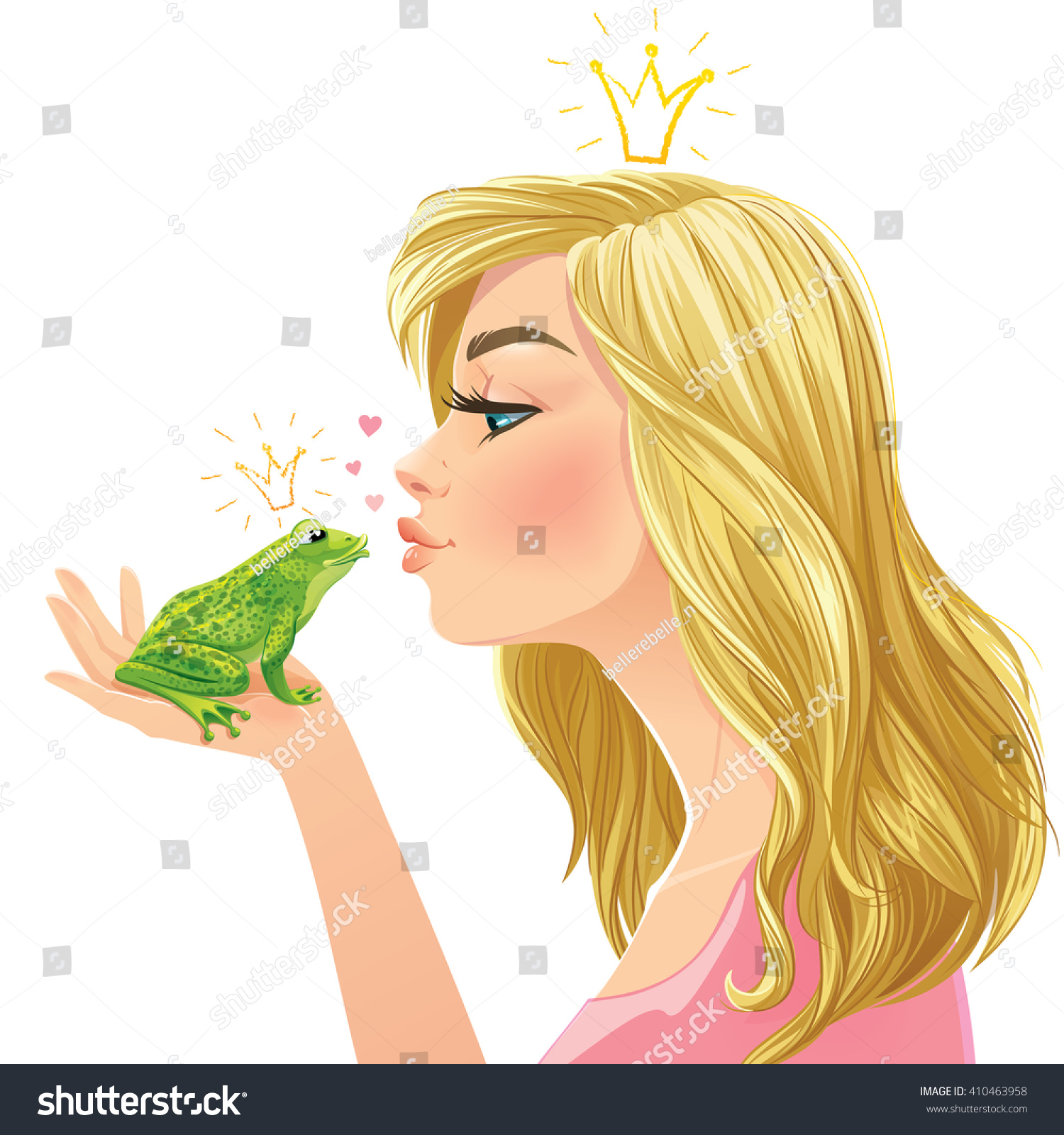 Young beautiful lady kisses a green frog isolated on white background