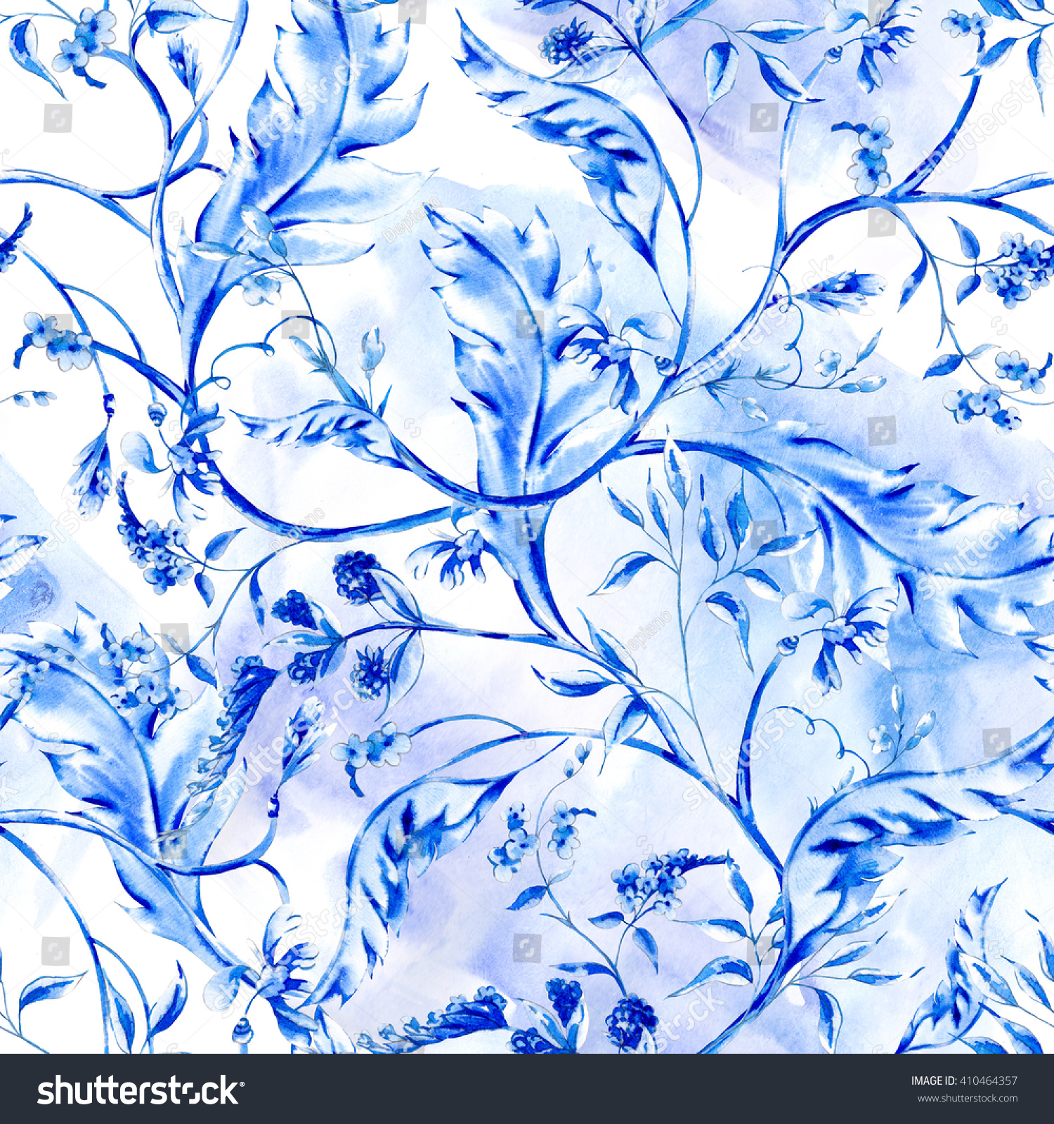 Blue watercolor flower vintage seamless pattern with branches and leaves natural flower wallpaper floral decoration curl illustration cobalt floral pattern