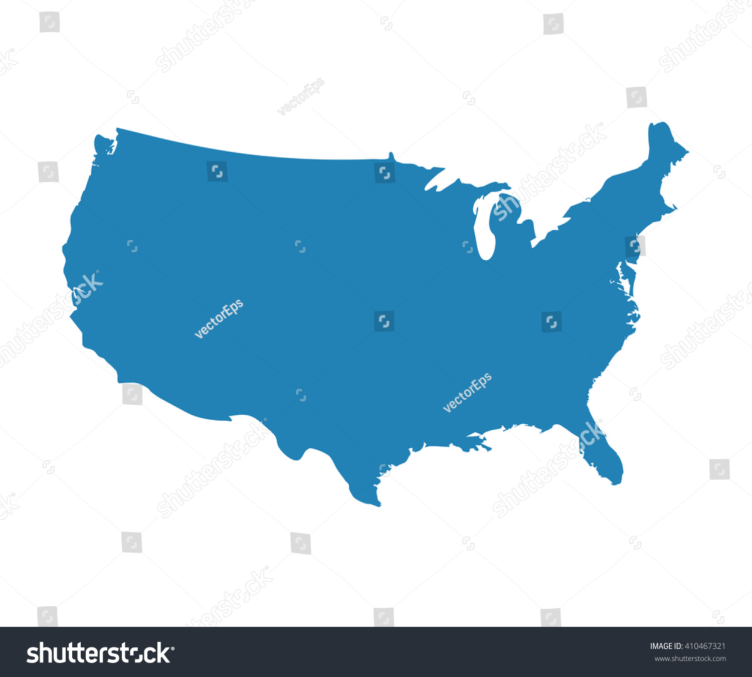 Blank Blue Unites State Map Vector Us Of America Map Icon Usa Country Isolated