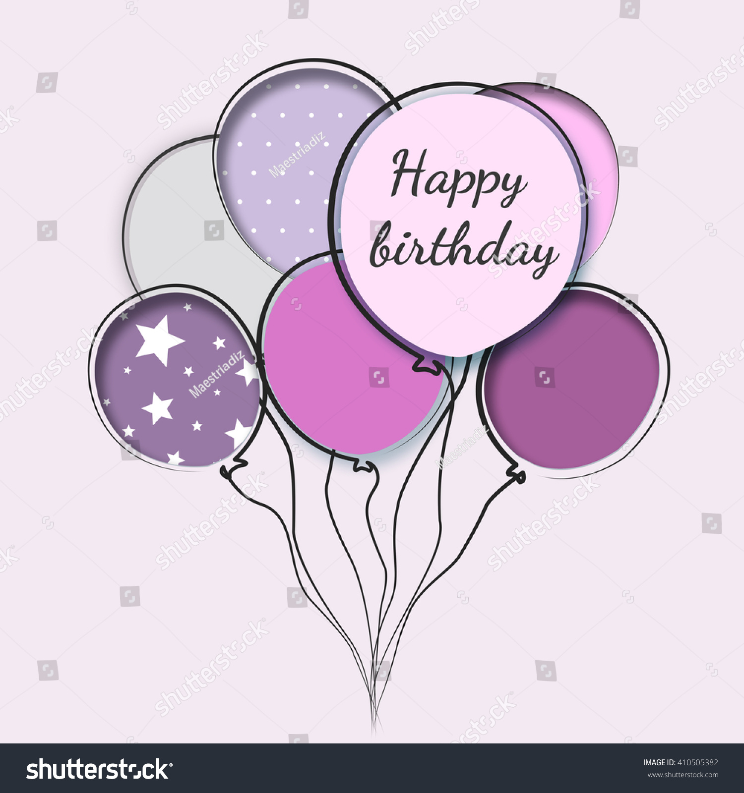 Greeting card balloons birthday woman stock illustration 410505382 greeting card with balloons birthday of woman bookmarktalkfo Images