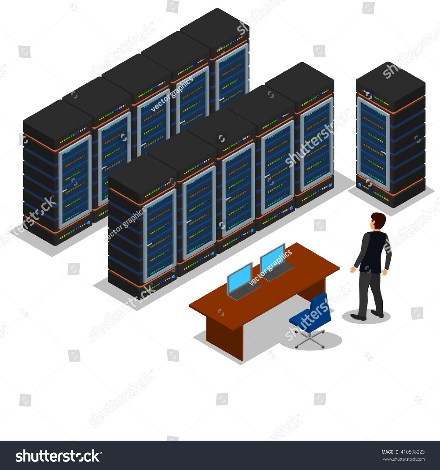 Vector Isometric Rooms Icon Stock Vector: Isometric View Server Room Server Vector Stock Vector
