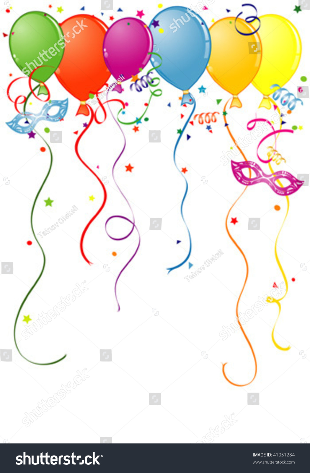 Birthday Frame Balloon Streamer Carnival Mask Stock Vector (Royalty ...