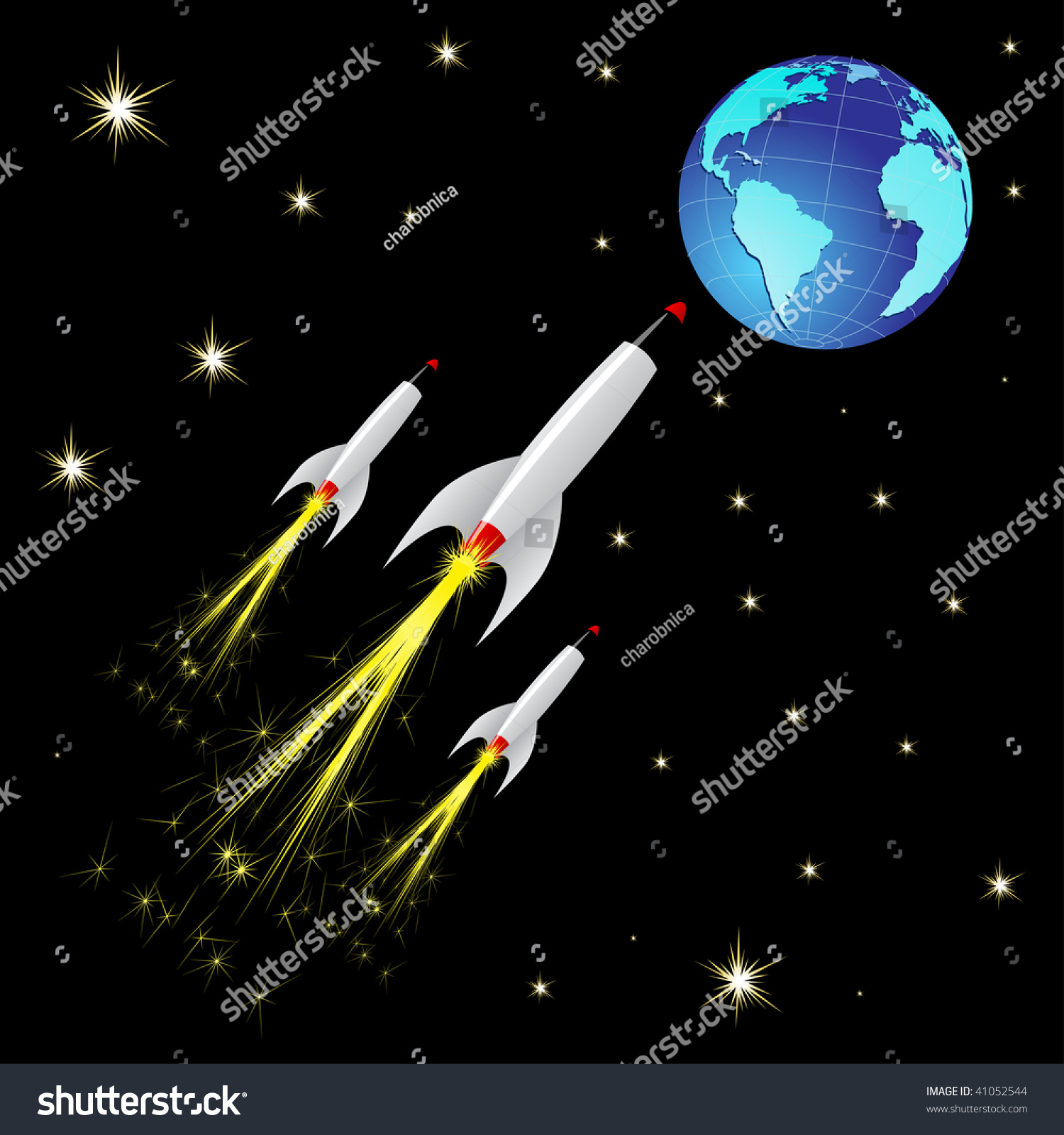 Vector rockets flying space toward earth stock vector for Flying spaces