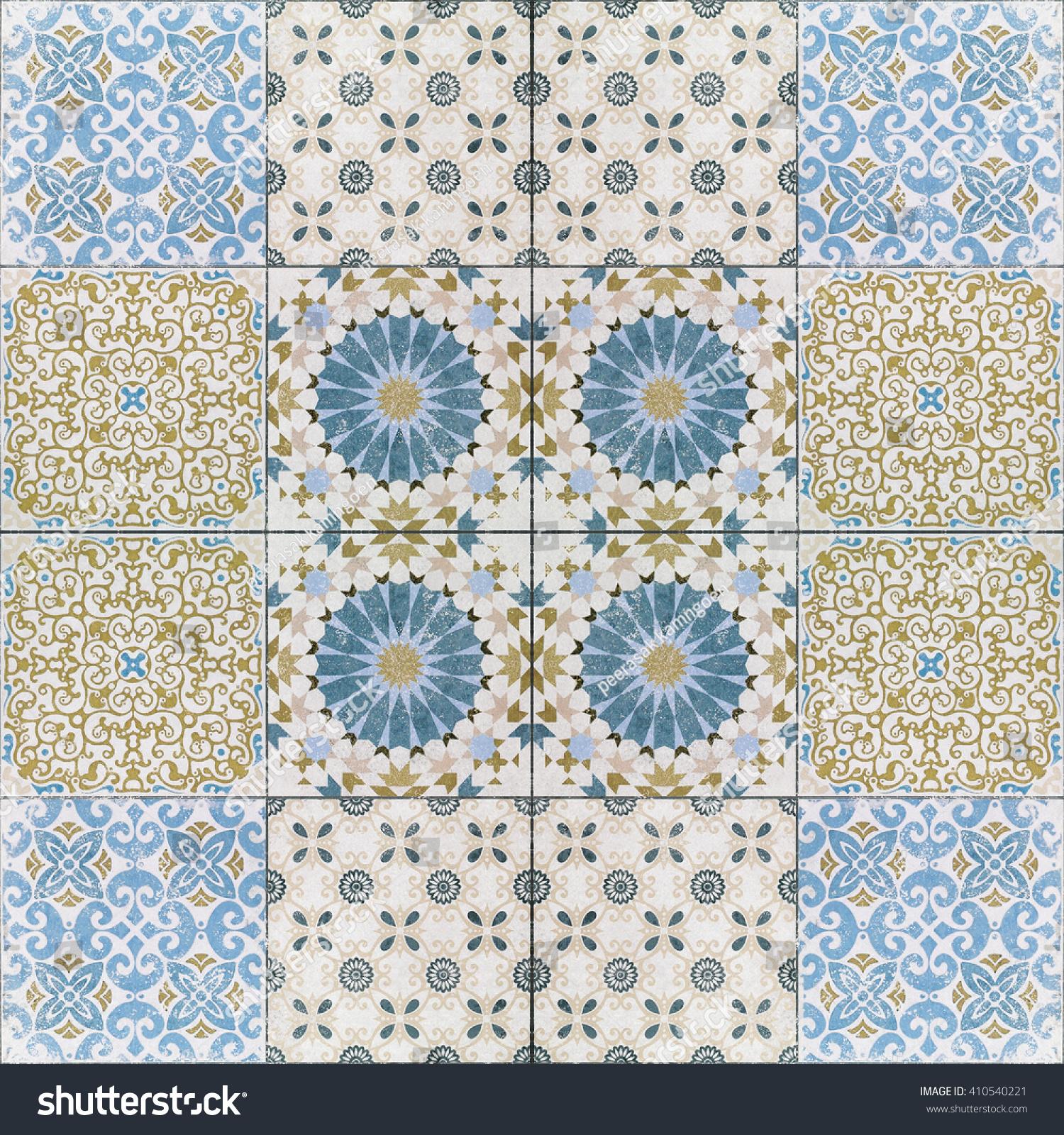 Beautiful old ceramic tiles patterns in the park public. | EZ Canvas