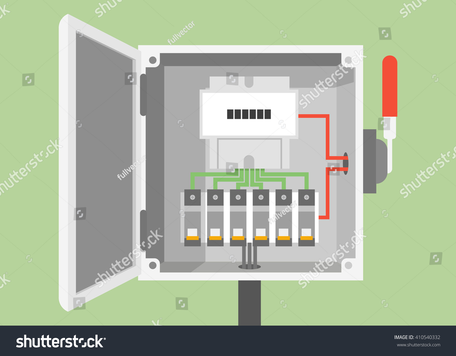 Breakers Switch Vector Flat Fuse Stock Royalty Free Electric Panel Boxes Box Circuit Electrical
