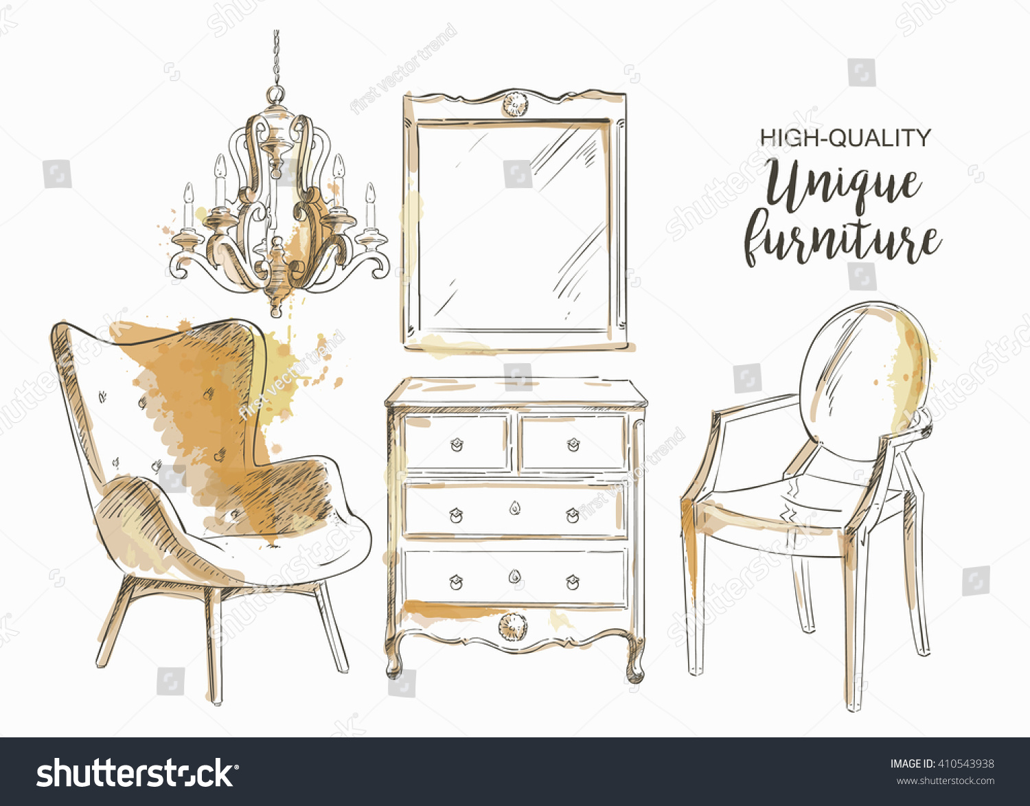 Set Hand Drawn Furniture Interior Detail Stock Vector 410543938 ...