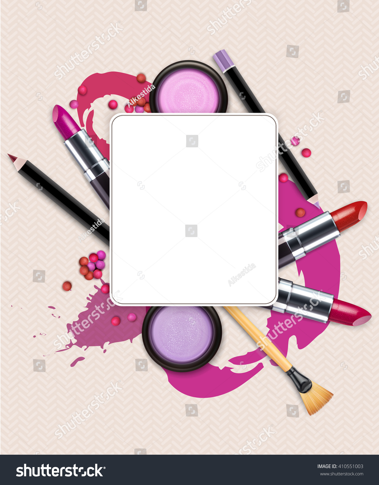 Background Cosmetics Makeup Flyer Template Jpeg Version Stock