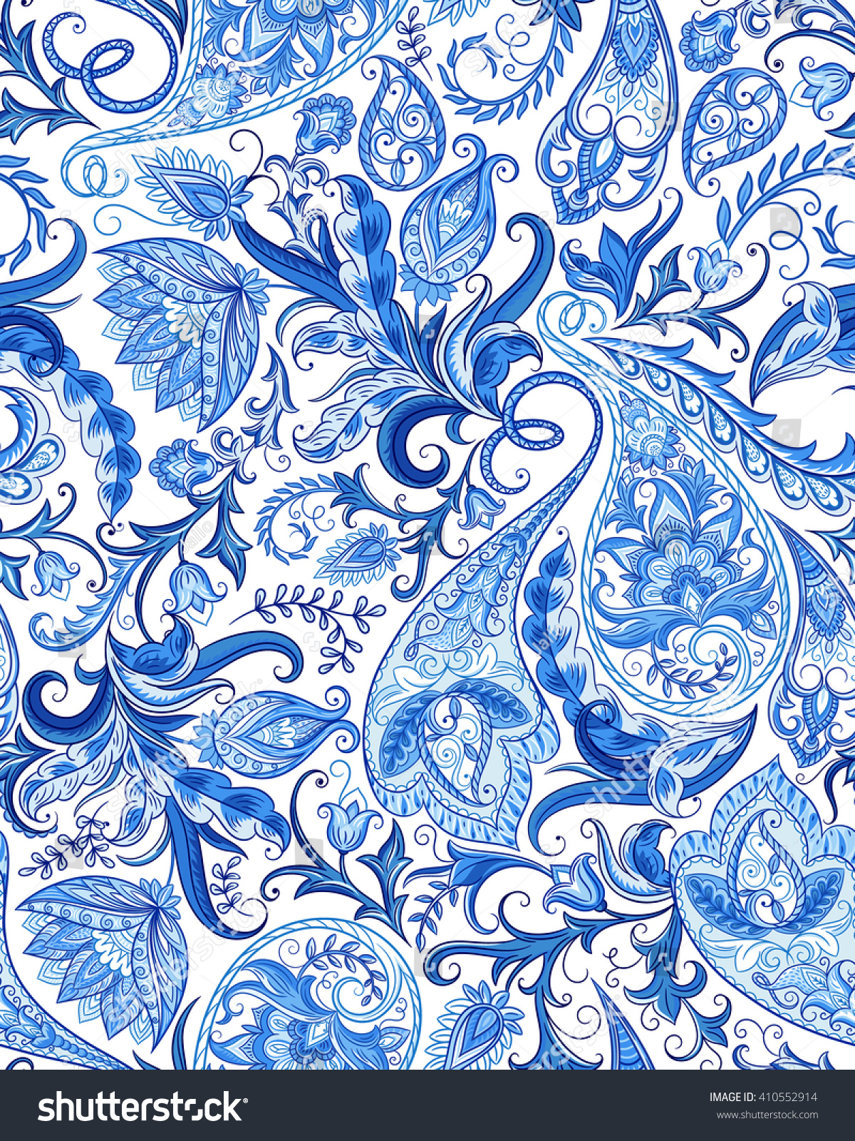 Vintage flowers seamless paisley pattern traditional stock for Carrelage motif retro